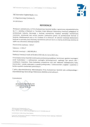 Kamiński Budownictwo- Przebudowa budynku biurowego EBZ Gliwice