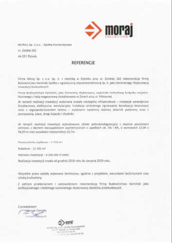 Kamiński Budownictwo - Rozbudowa hali magazynowej z budynkiem socjalno-biurowym dla firmy Moraj Sp. z o.o. Sp. K. w Żorach