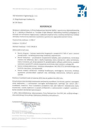 Kamiński Budownictwo- Budowa Hali produkcyjno-magazynowej dla EBZ Gliwice