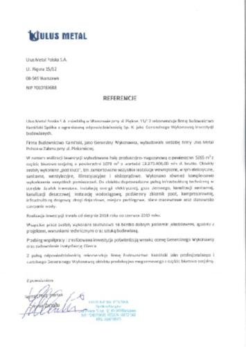 Kamiński Budownictwo- Generalny wykonawca Hala Produkcyjno-Magazynowa Ulus Metal Zabrze