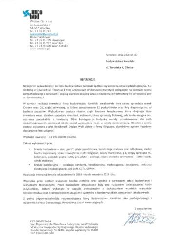 Kamiński Budownictwo- Wrobud salon Citroen i DS Wrocław